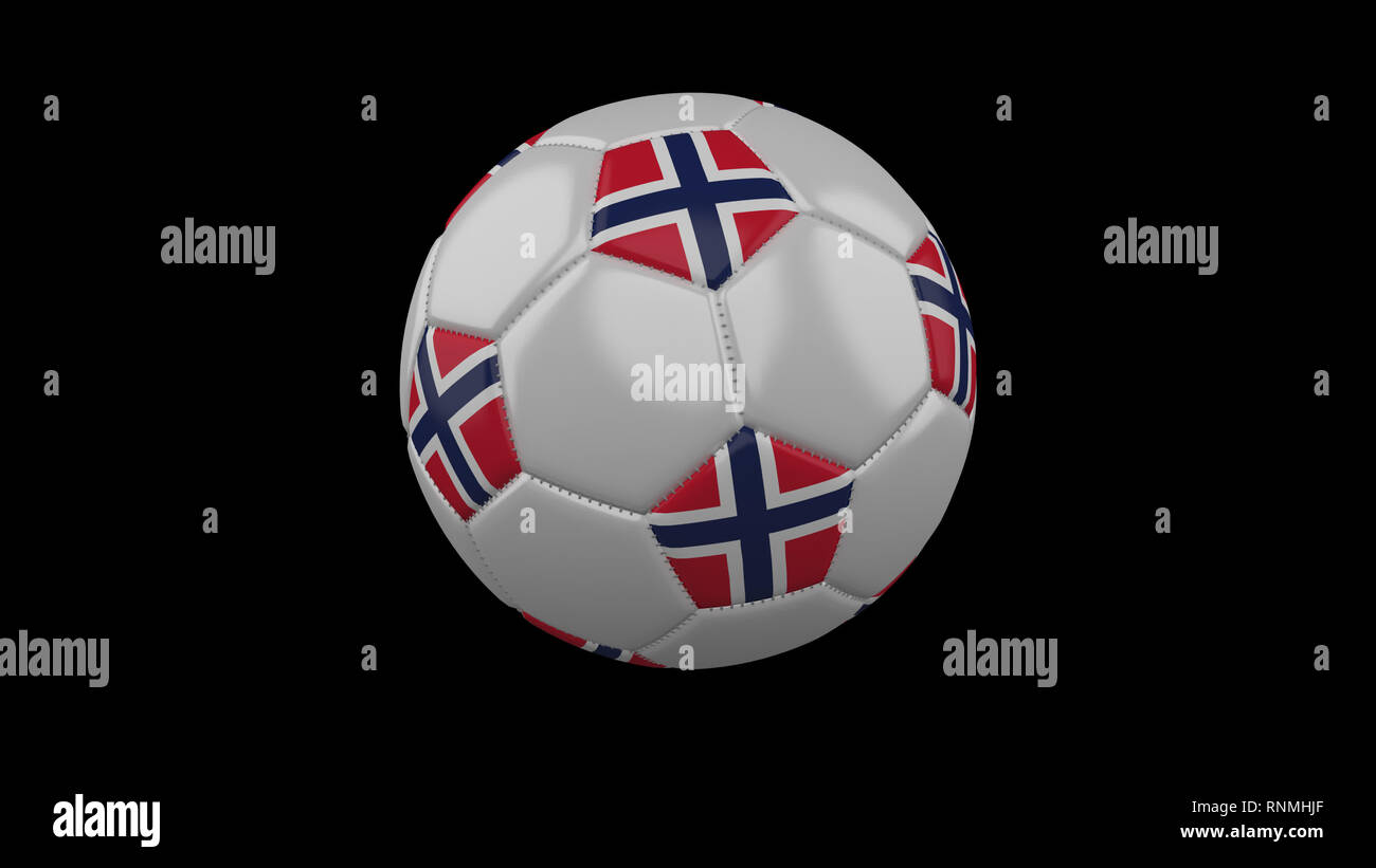 Soccer ball with the flag of Norway colors rotates, 3d rendering - Stock Image