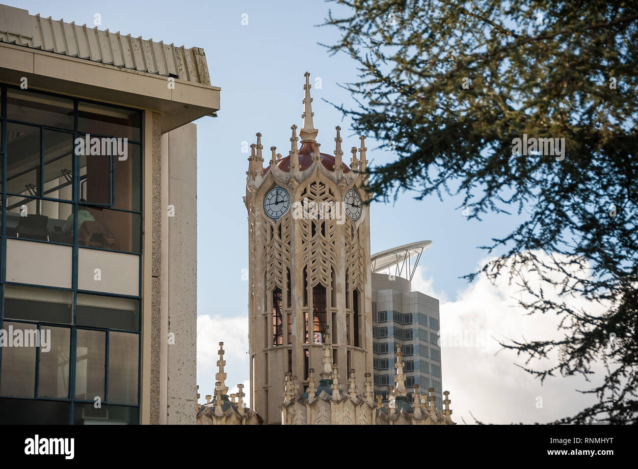 The clock tower and old arts and commerce building at the University of Auckland. View with trees and blue sky background. Stock Photo