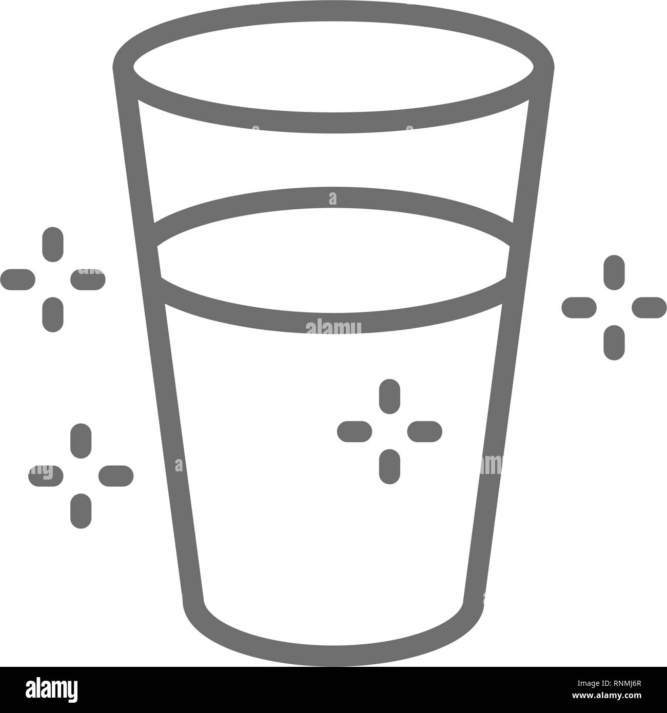 Glass of water line icon. Isolated on white background Stock Vector