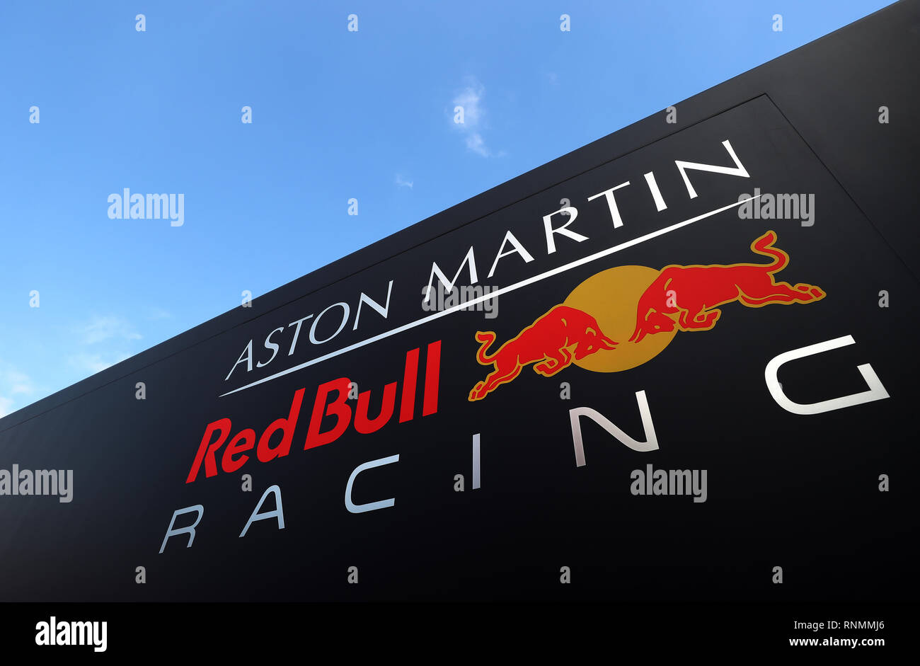 A View Of The Aston Martin Red Bull Racing Logo During Day Two Of Pre Season Testing At The Circuit De Barcelona Catalunya Stock Photo Alamy