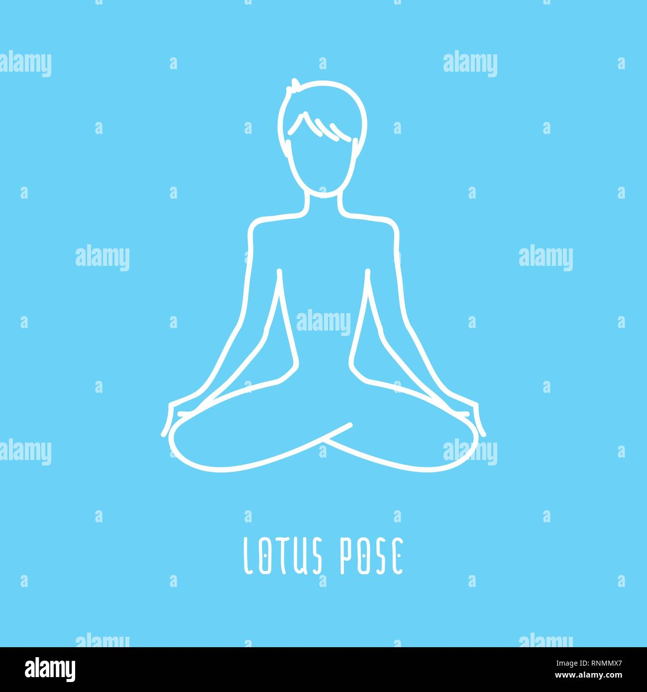 Yoga pose flat line icon, simple sign of man in easy pose, white outline logo isolated on baby blue - vector asana for sahasrara chakra, design elemen - Stock Image