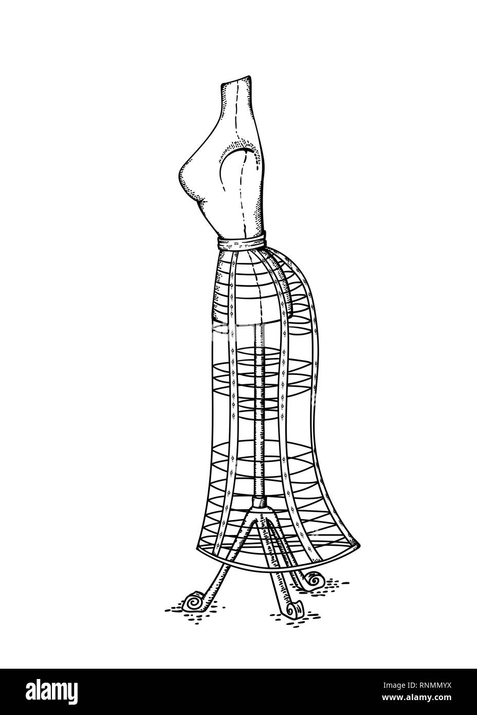 Vector hand drawn sketch of Victorian vintage mannequin for dressing studio, retro object for decoration and scrap booking - Stock Image