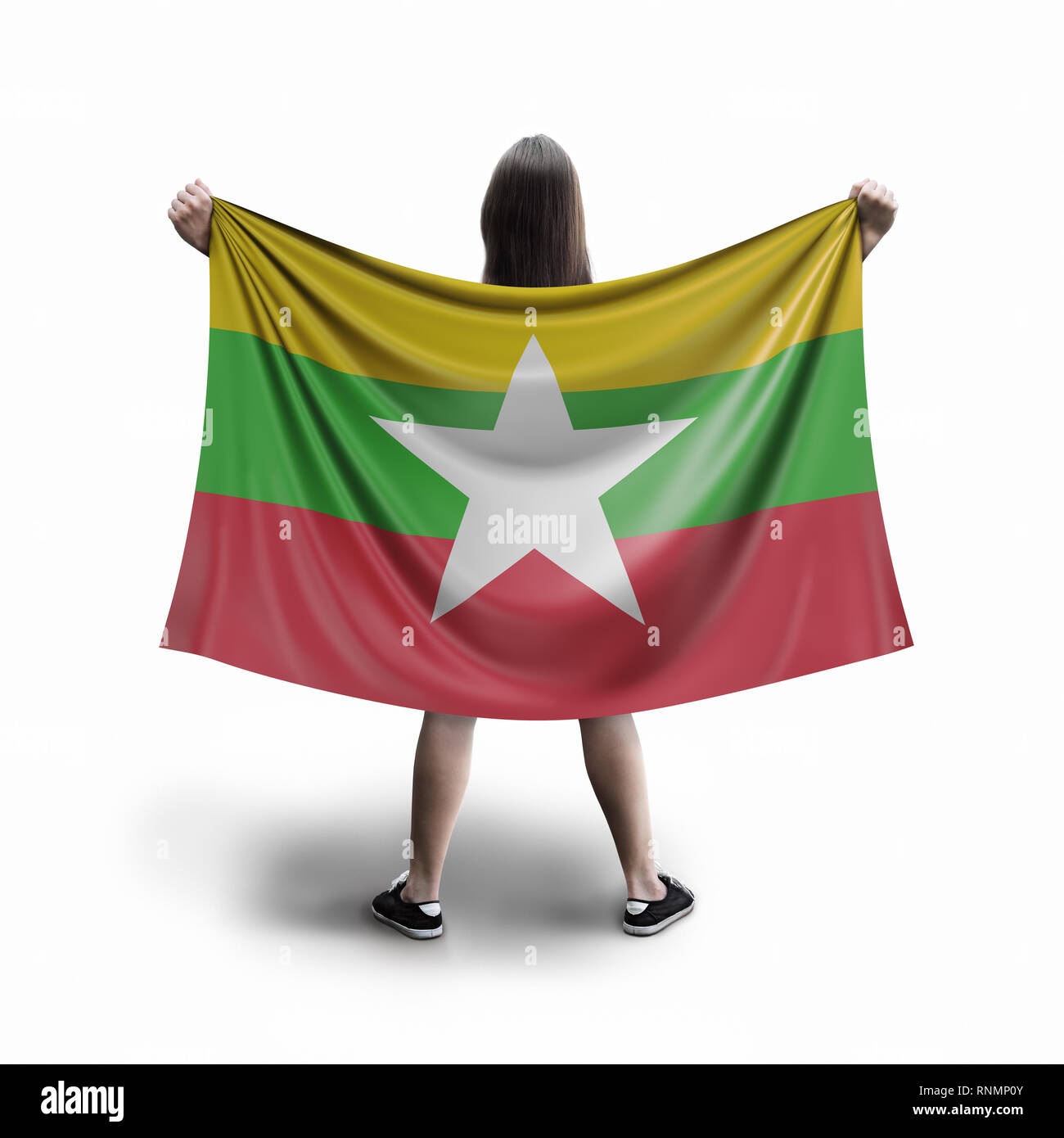 Women and flag - Stock Image