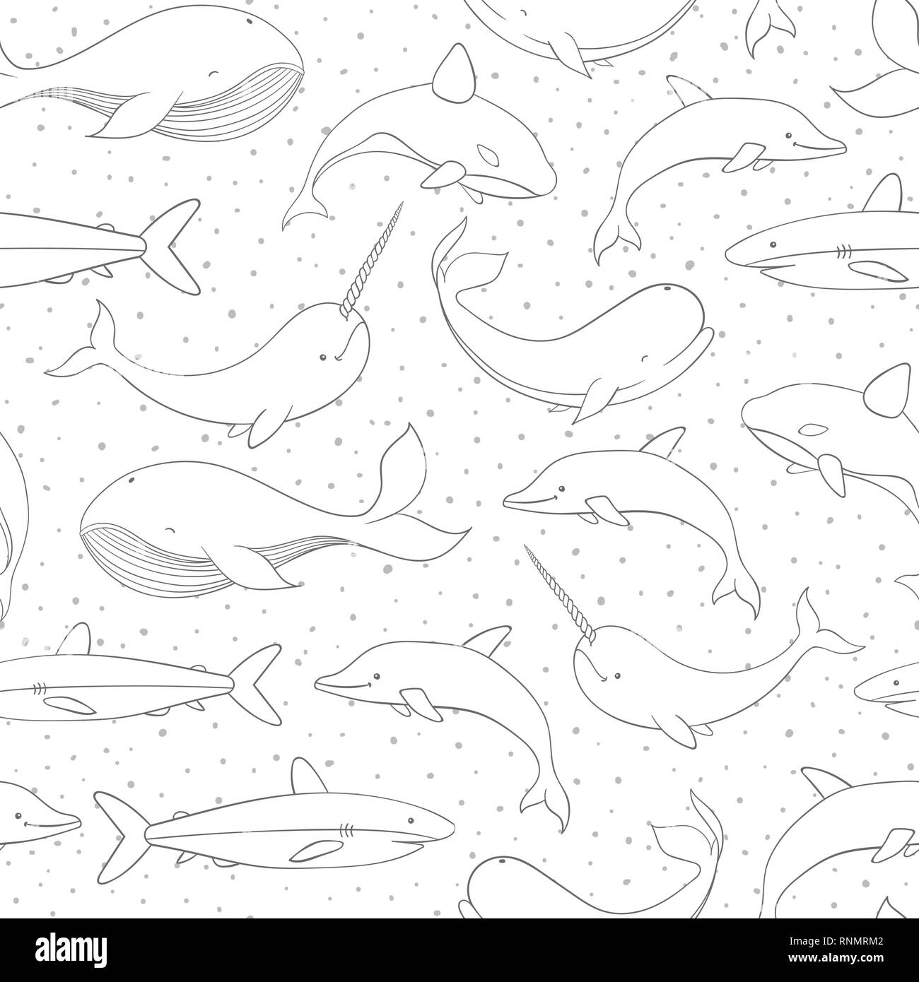 Vector seamless pattern with whale, shark, narwhal and dolphin contours on the polka dot white background. Sea creatures and marine life backdrop. - Stock Image