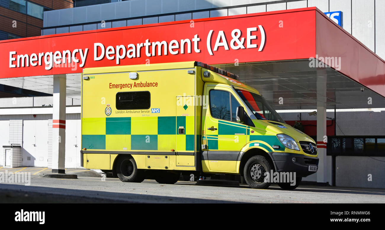 London NHS national health service ambulance outside healthcare entrance hospital building A&E accident and emergency department Lambeth England UK - Stock Image