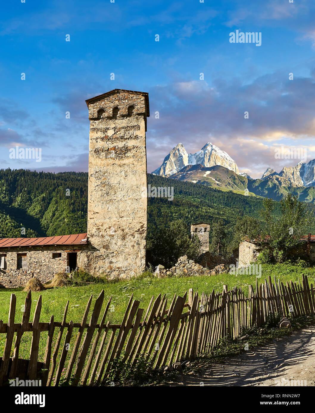 Stone medieval Svaneti tower houses of Lashtkhveri village in the Caucasus mountains, Upper Svaneti, Samegrelo-Zemo Svaneti, Mestia, Georgia.  A UNESC - Stock Image