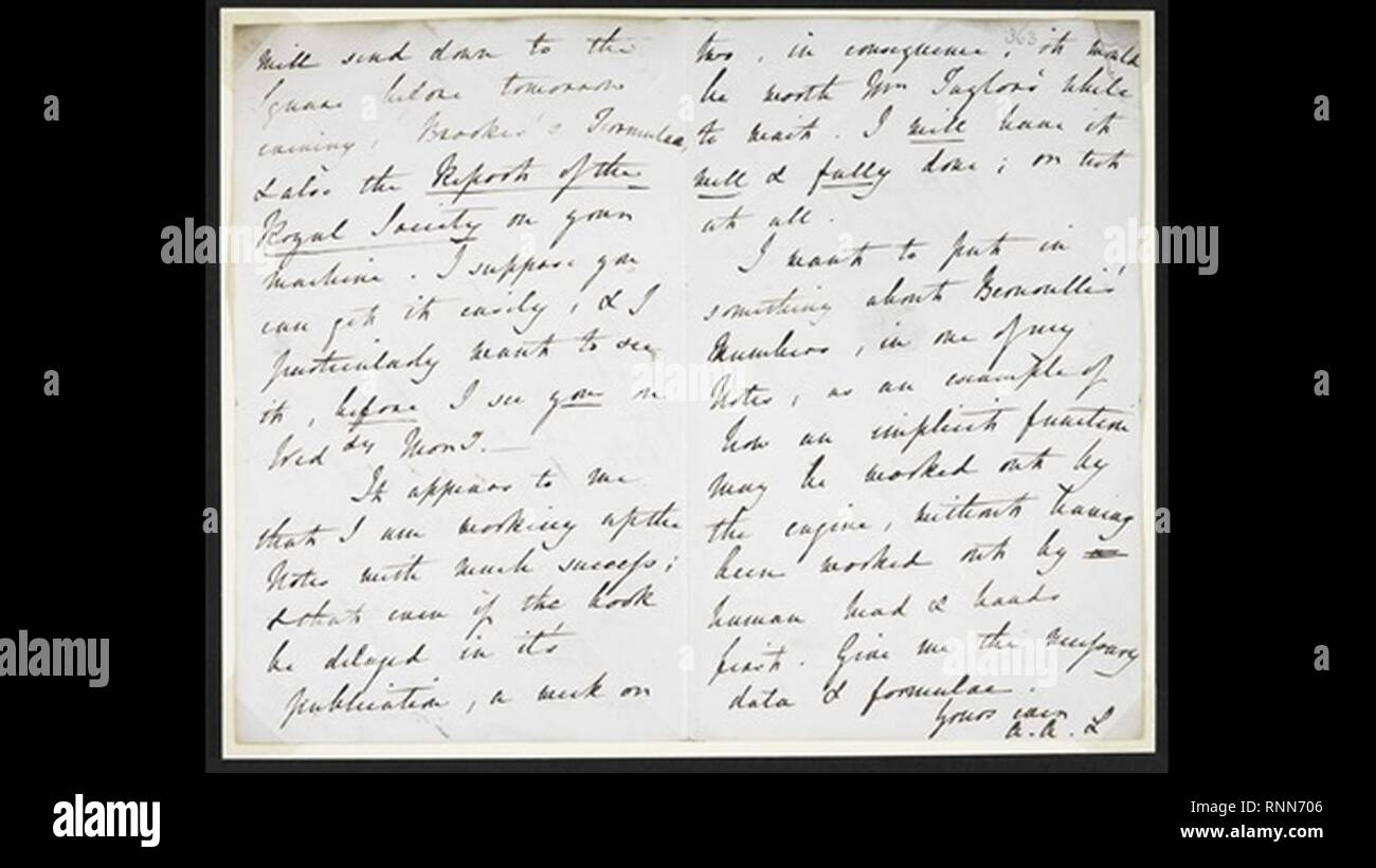 Carta de Ada Lovelace a Charles Babbage. - Stock Image