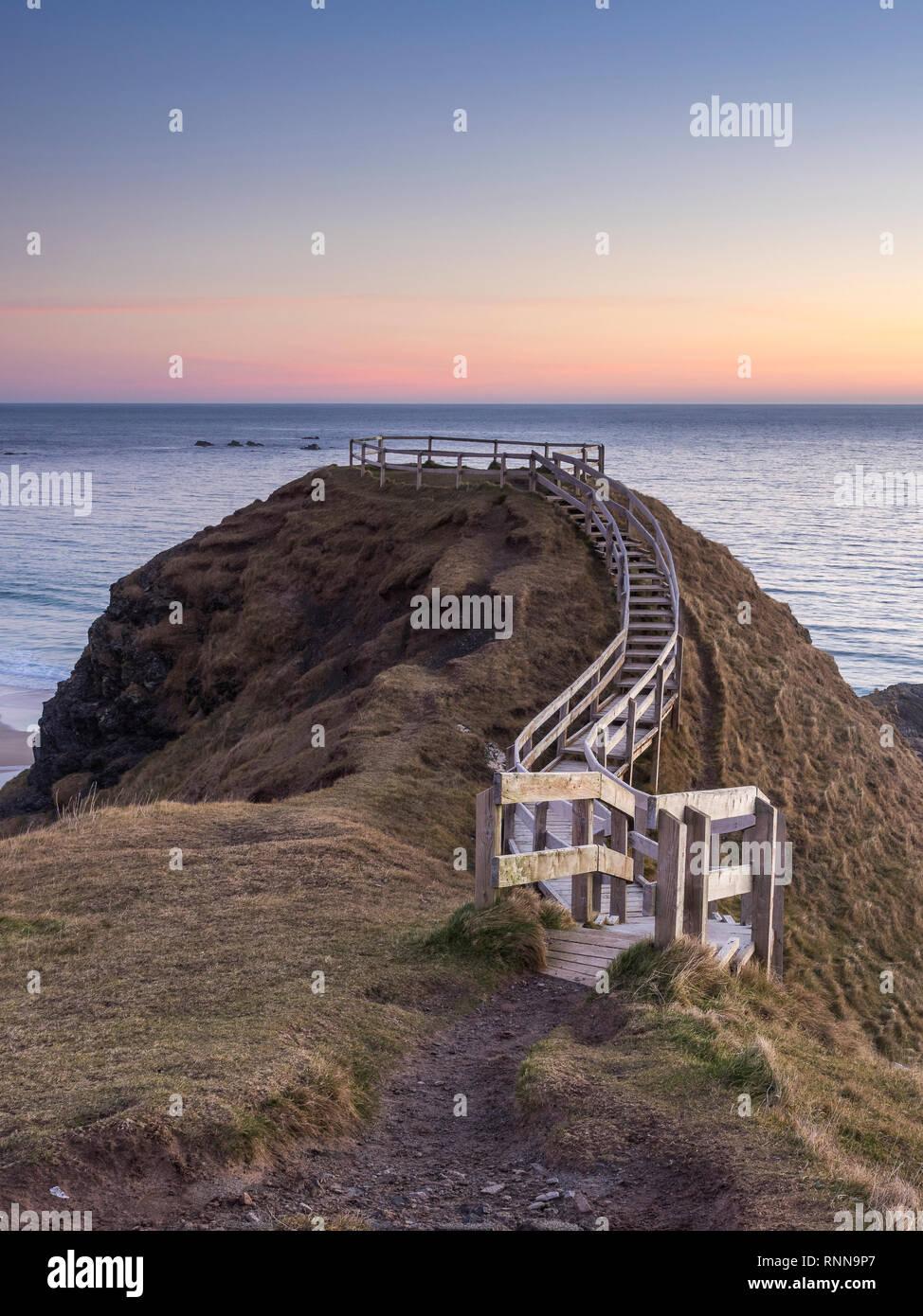 Viewpoint boardwalk at Sango Bay, Durness, Sutherland, Scotland - Stock Image