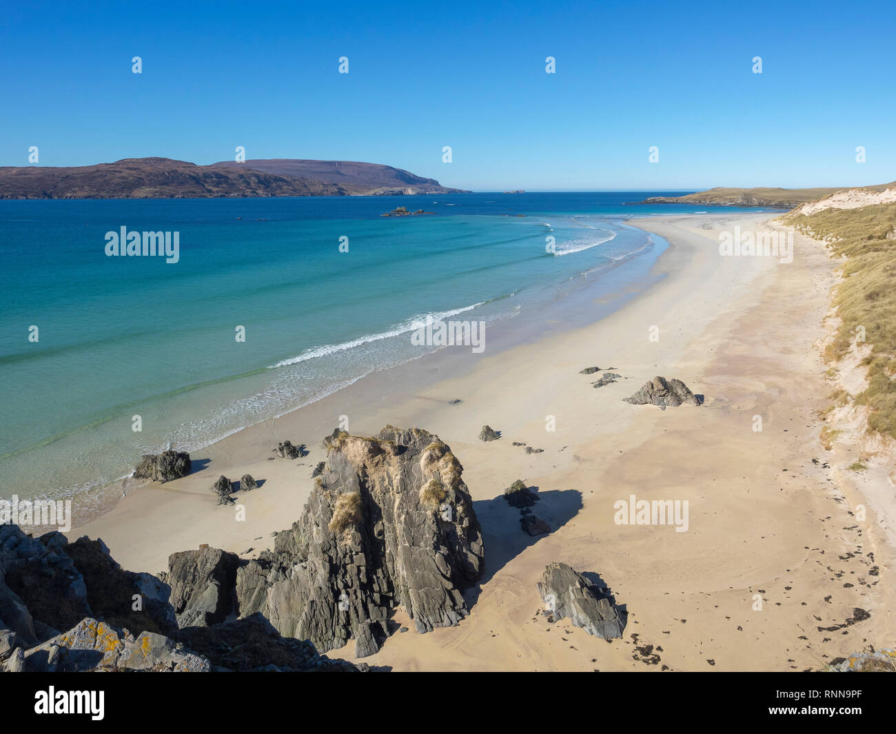 The beach and dunes at An Fharaid, Balnakeil Bay near Durness, Sutherland, Scotland - Stock Image