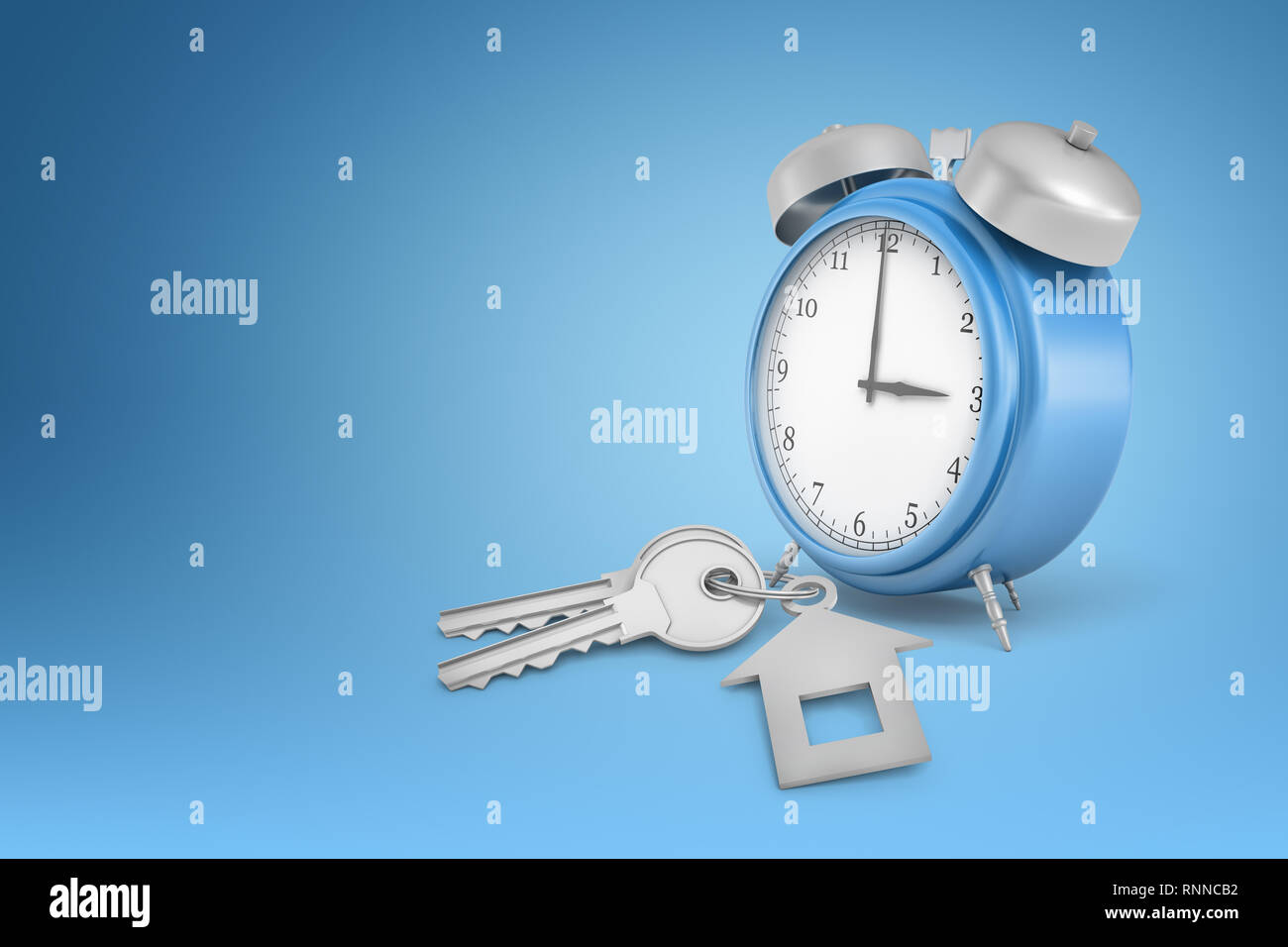3d rendering of a blue alarm clock and grey keys on a blue
