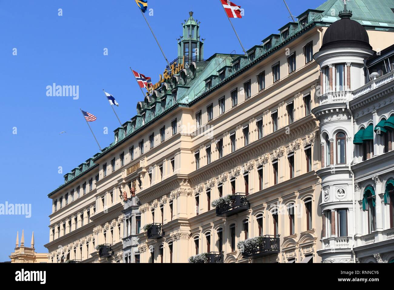 STOCKHOLM, SWEDEN - AUGUST 24, 2018: Grand Hotel in Stockholm, Sweden. It is a member of prestigious The Leading Hotels of the World (LHW) consortium. - Stock Image