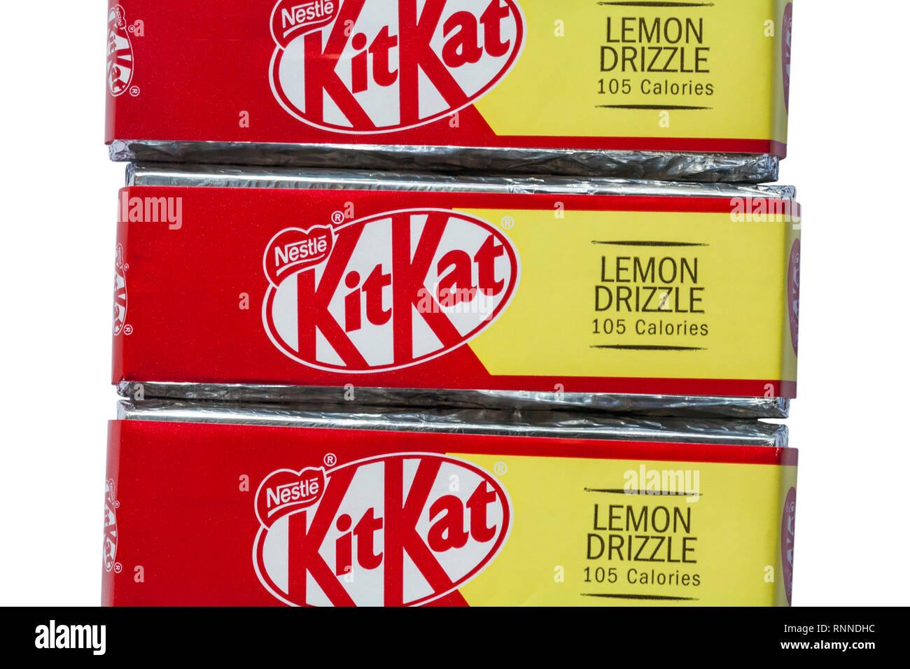 Nestle lemon drizzle KitKat bars set on white background - Kit Kat - Stock Image