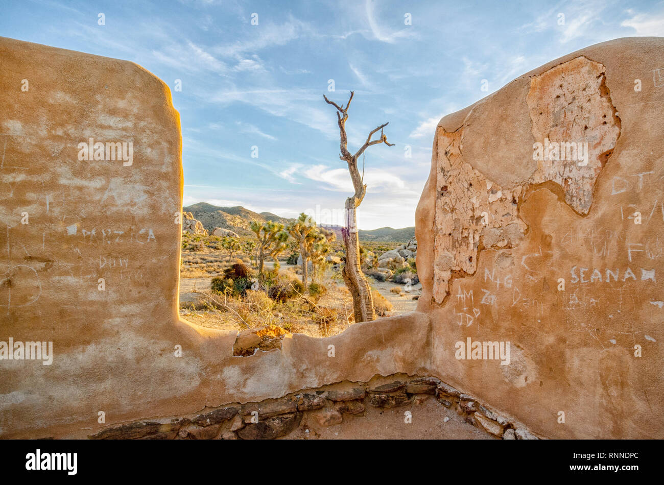The Ryan Ranch house is an adobe structure built in 1896 in what is now Joshua Tree National Park, CA. Stock Photo
