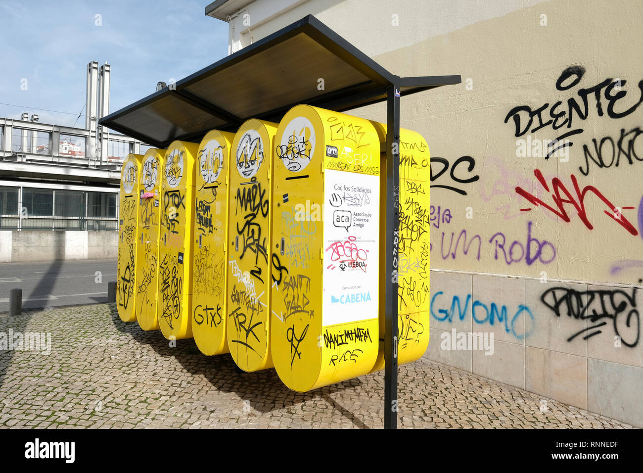 Lisbon city council Cacifos Solidoros, Solidary lockers for homeless people's possessions, Lisbon, Portugal. Stock Photo