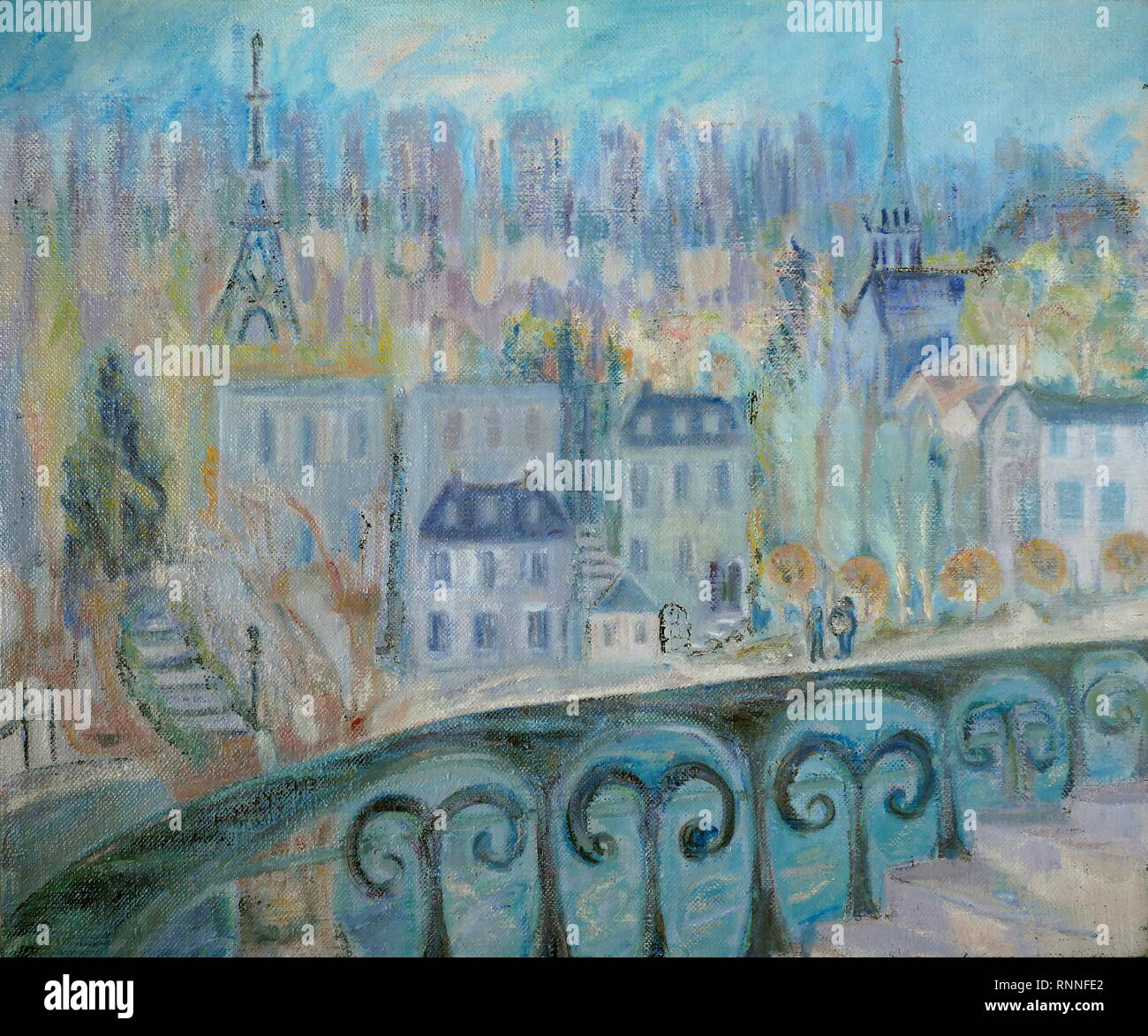 AJAXNETPHOTO. 2019. ENGLAND. - T.G. EASTLAND ART - VIEW OF PARIS FROM SAINT-CLOUD, FRANCE, PAINTED BY T.G.EASTLAND; LARGE OIL ON HEAVY LINEN CANVAS. 20TH CENTURY IMPRESSIONIST STYLE WORK DATED ABOUT 1984. PAINTING UNSIGNED. PHOTO:© IN THIS DIGITAL COPY OF THE ORIGINAL WORK/AJAX NEWS & FEATURE SERVICE. SOURCE: PRIVATE COLLECTION. REF:GX191702_20011 - Stock Image
