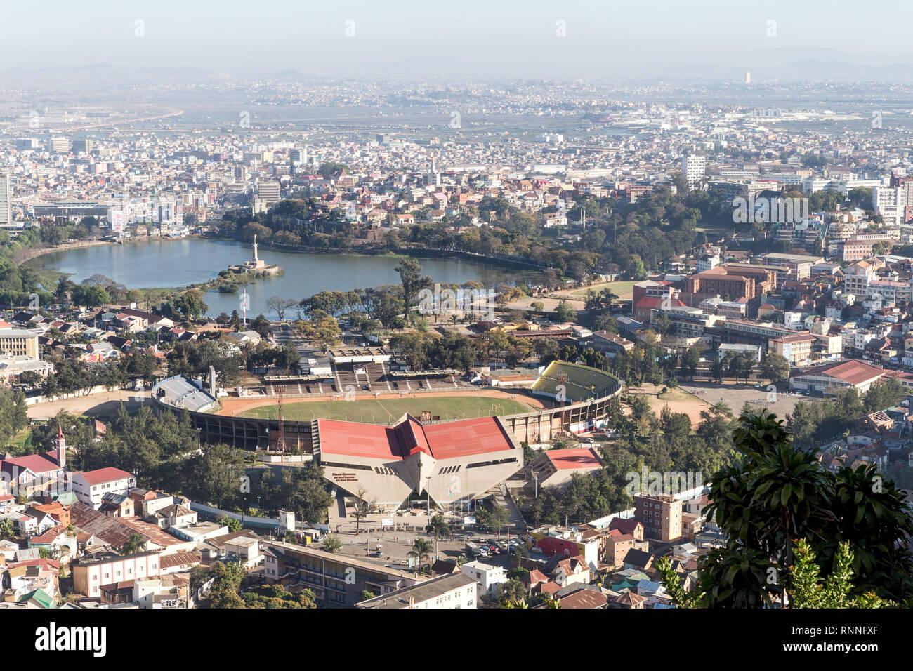 Central lake and stadium, Antananarivo, Madagascar - Stock Image