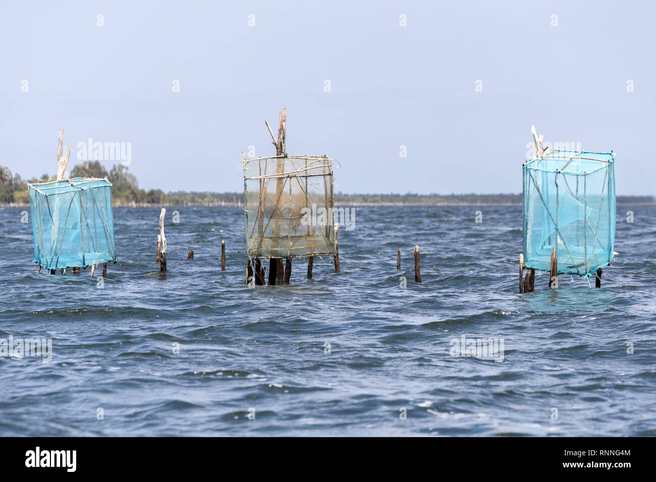 Fishing nets Tamatave from Panglanes Lake Ampitabe during eclipse of the sun Madagascar - Stock Image