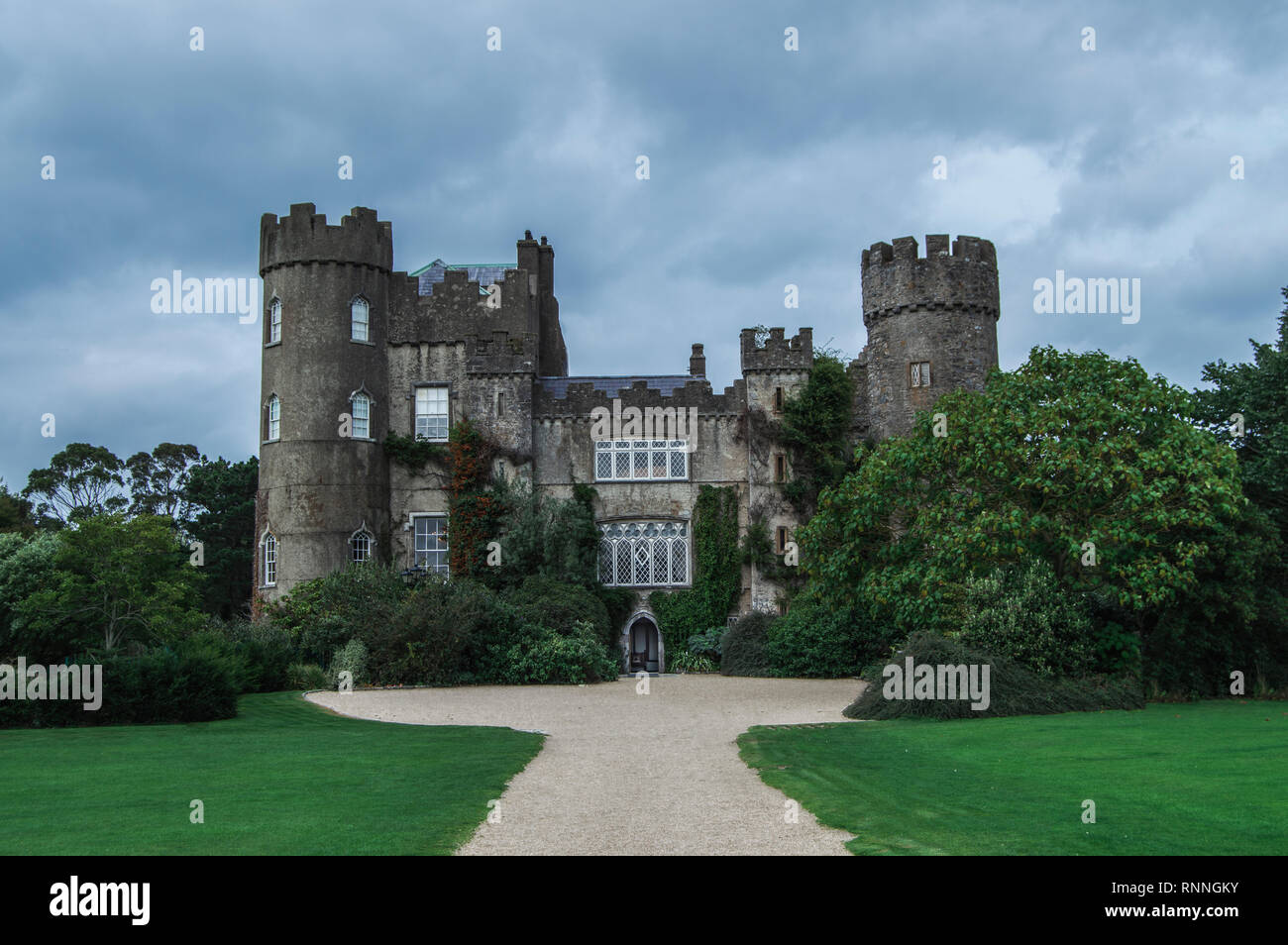 Moody picture of Malahide Castle in Ireland - Stock Image