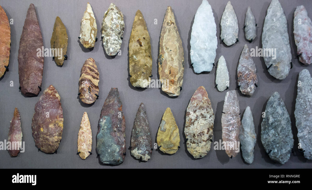 Collection of Lupemban bi-facially flaked stone points, tips for throwing or stabbing spears from the Lupemba Valley, Kasaï, Congo - Stock Image