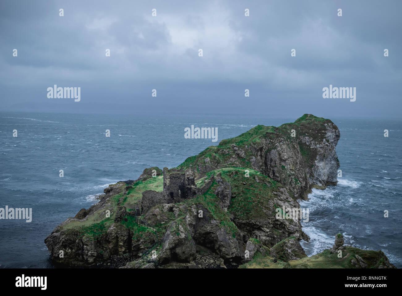 Kinbane Head on the Coast of Northern Ireland - Stock Image