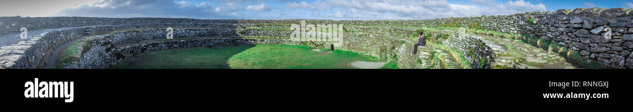 Panorama of Grianan Of Aileach Hillfort in Ireland Stock Photo