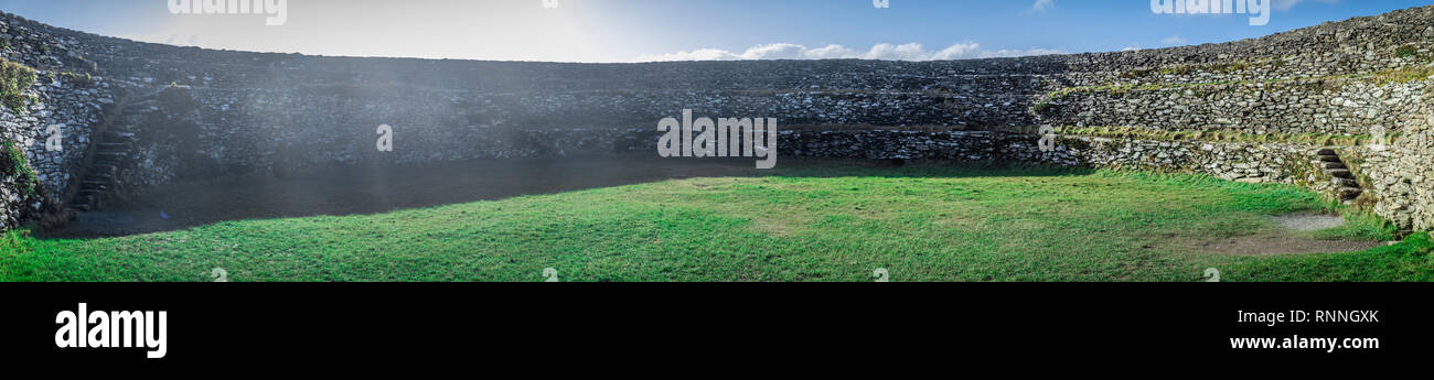Panorama of Grianan Of Aileach Hillfort in Ireland - Stock Image