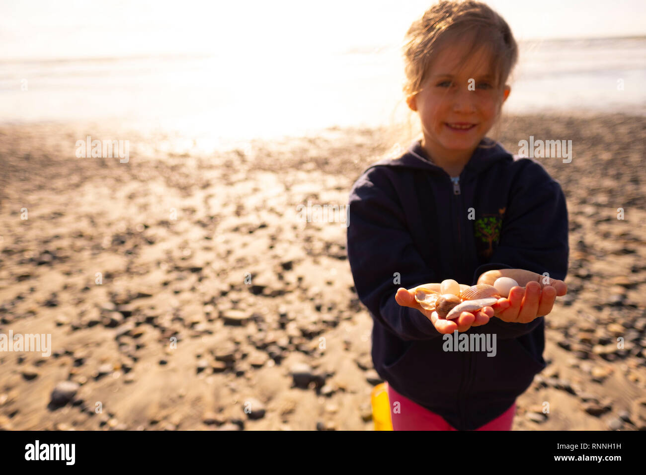 Young girl at beach holding sea shells - Stock Image