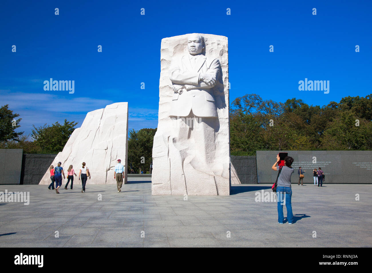 USA, WASHINGTON DC. Monument Dr. Martin Luther King, Jefferson memorial at sunny day. The statue. Stock Photo