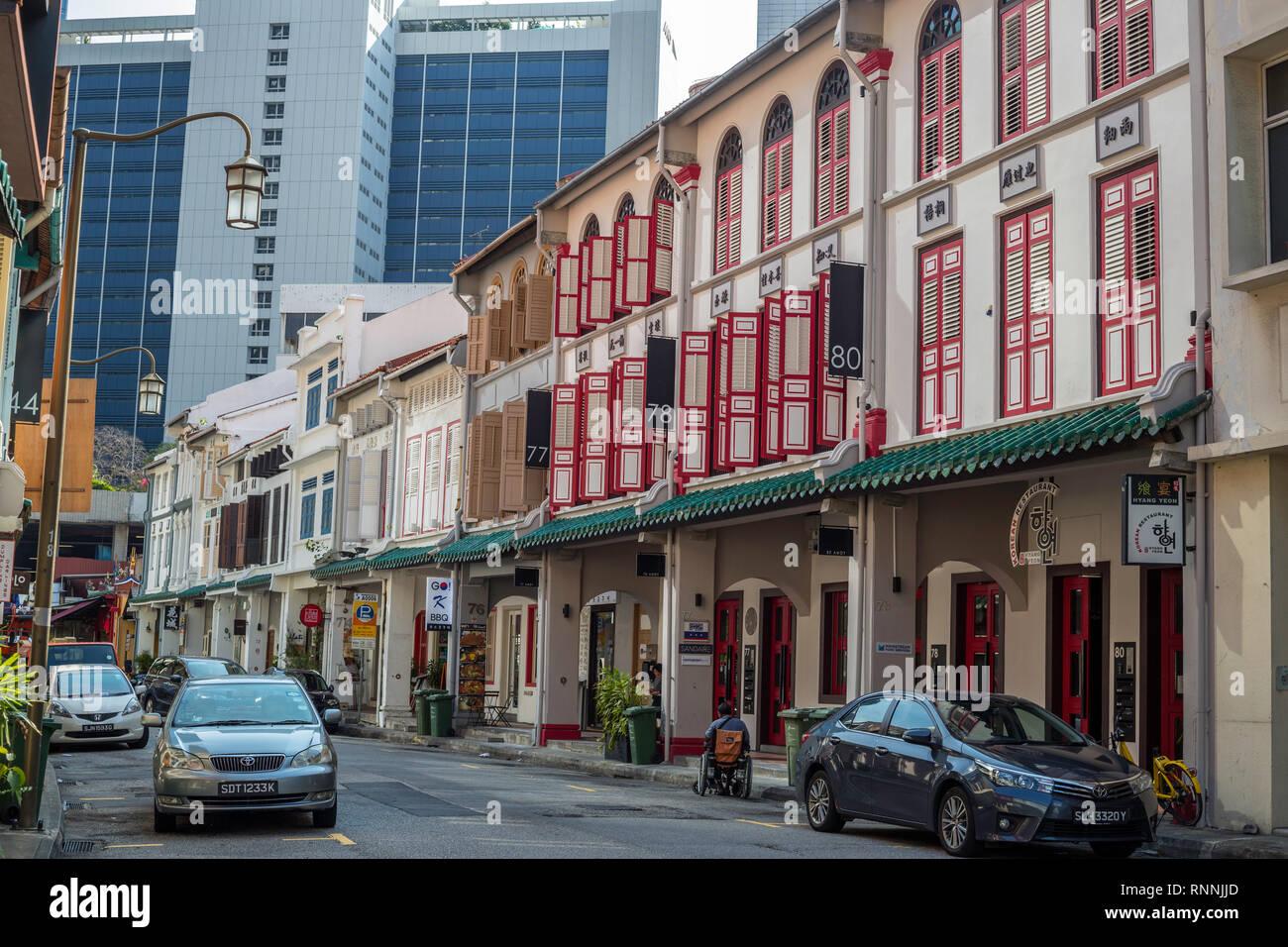 Singapore, Amoy Street Scene, Shop House Architecture. - Stock Image