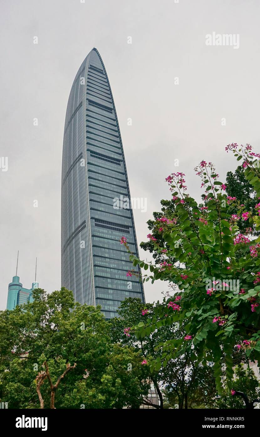 SHENZHEN, CHINA -23 DEC 2018- View of the KK100 (Kingkey 100, Kingkey Finance Tower), a supertall skyscraper located in Shenzhen, Guangdong, China. - Stock Image