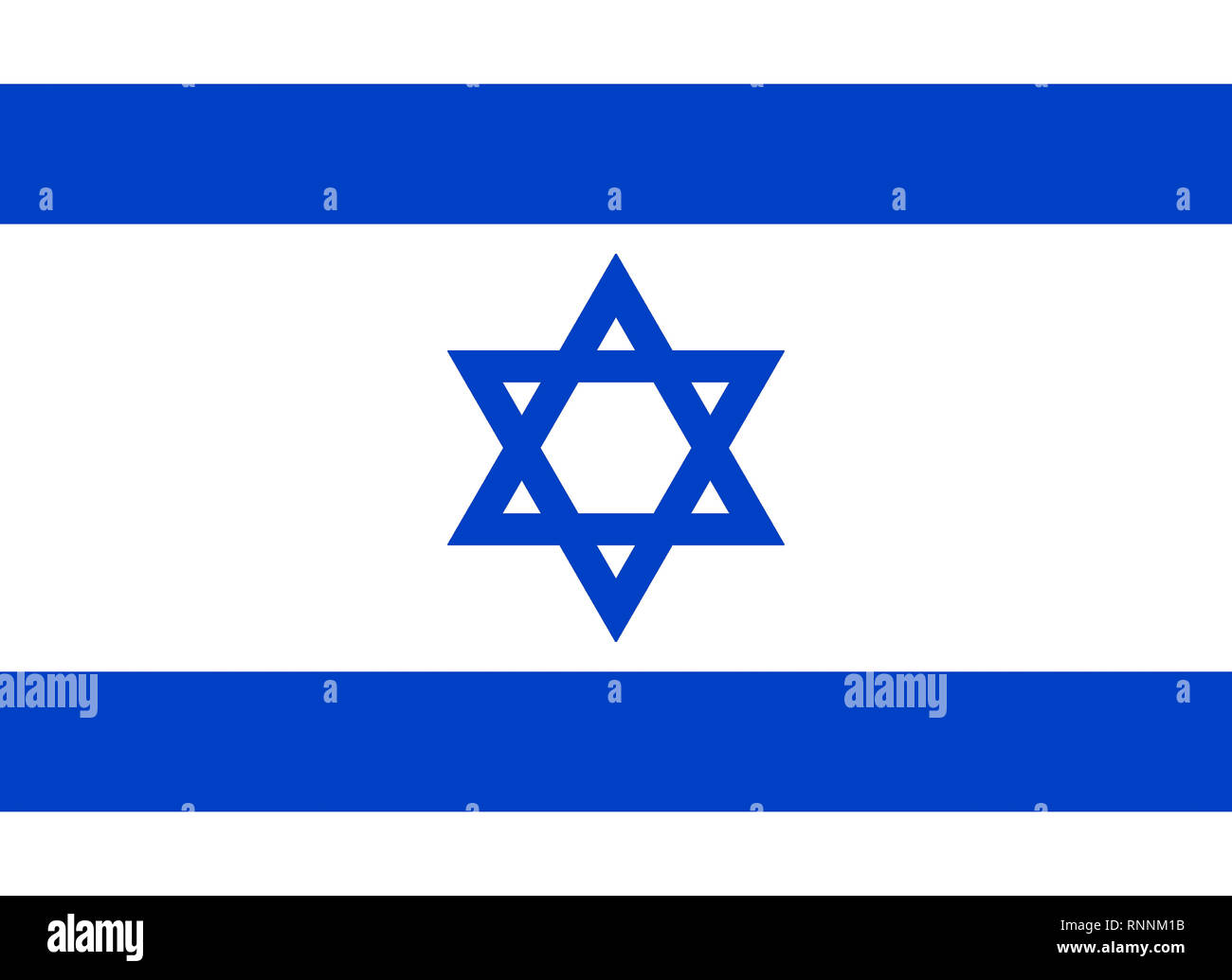 National flag of the State of Israel. - Stock Image