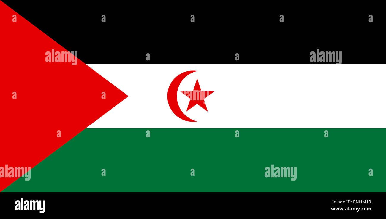 Flag of the Sahrawi Arab Democratic Republic - Western Sahara.. - Stock Image