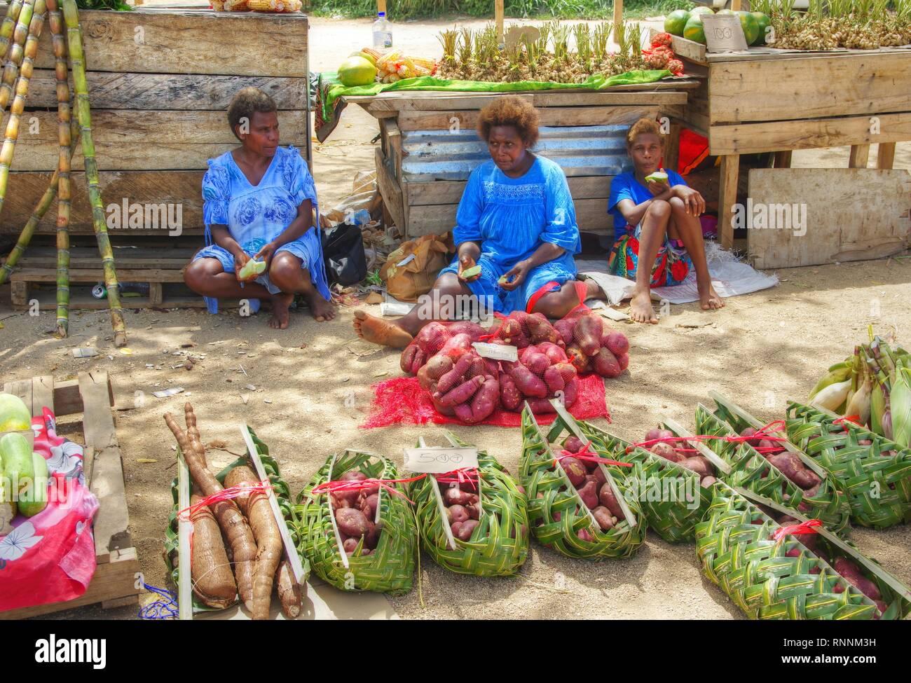 Road Side Market Port Vila Vanuatu - Stock Image