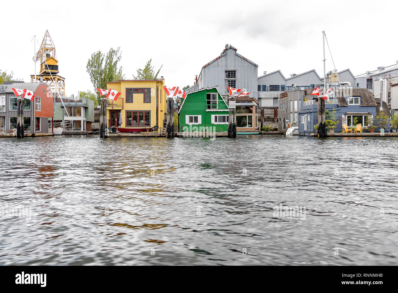 False Creek floating homes, Granville Island, Vancouver, Canada - Stock Image