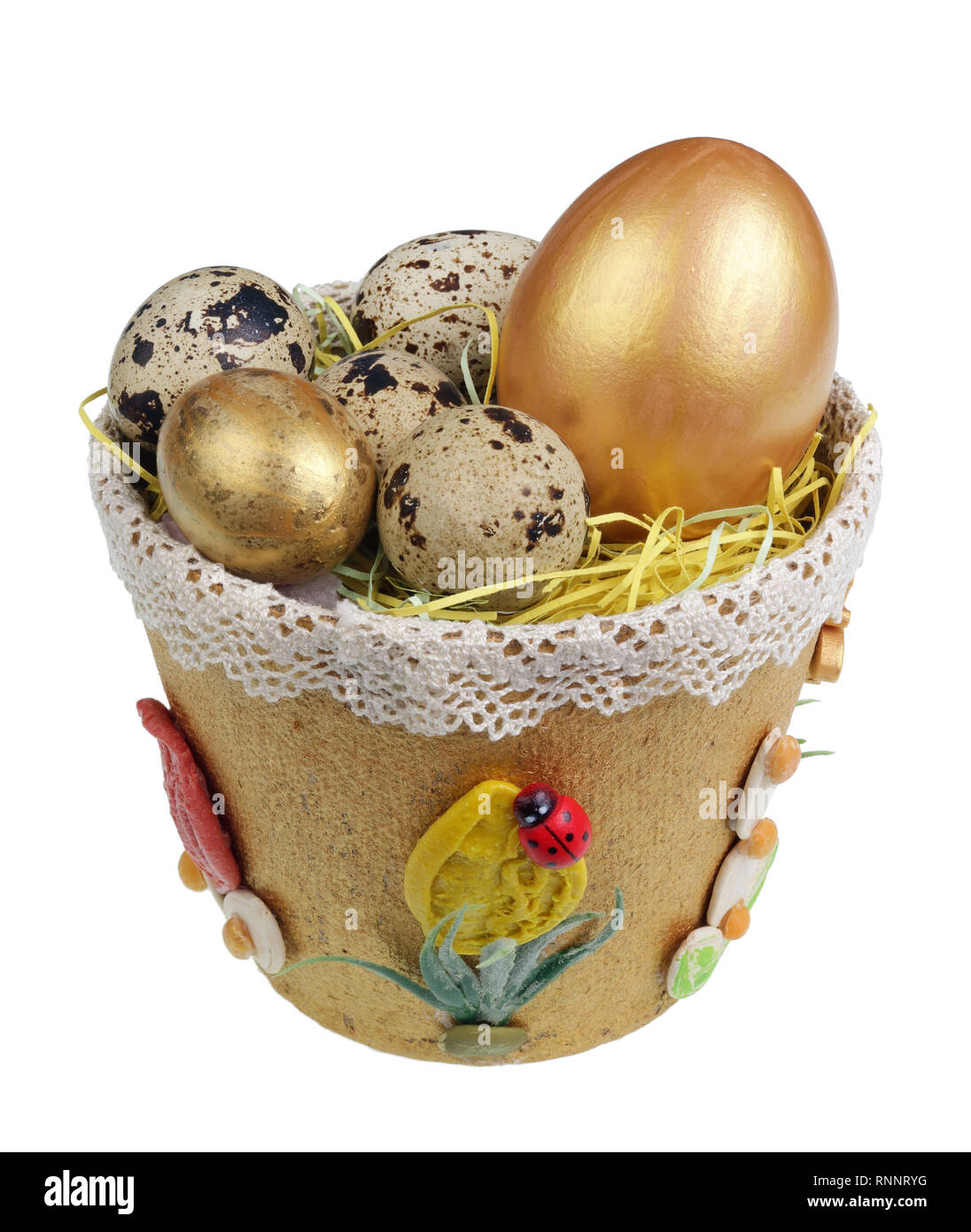 Easter handmade  nest from  paper with  quail an chiken eggs. Isolated on white studio macro shot Stock Photo