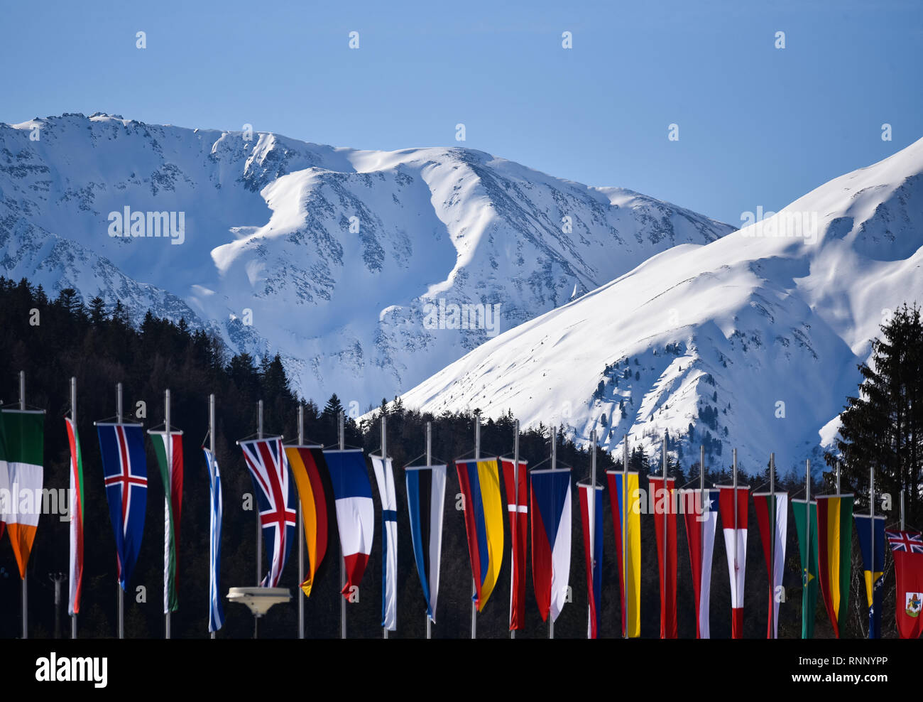 Seefeld, Austria. 19th Feb, 2019. Flags at FIS World nordic Ski Championships, Seefeld, Austria. Credit: John Lazenby/Alamy Live News - Stock Image
