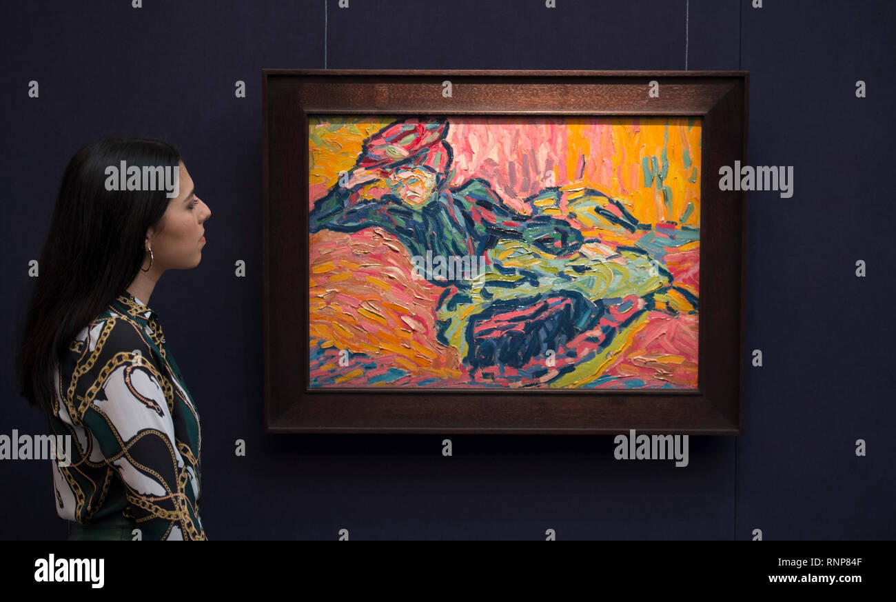 Sotheby's, New Bond Street, London, UK. 20 February, 2019. A Gathering of the Greats. Exceptional works by Monet, Picasso, Magritte, Rodin, Degas, Chagall, Kandinsky, Miró and Man Ray together at Sotheby's ahead of the Impressionist, Modern & Surrealist Art Sales on 26 February 2019. Image: Ernst Ludwig Kirchner. Mädchen auf dem Diwan, 1906. Estimate £2,800,000-3,800,000. Credit: Malcolm Park/Alamy Live News. - Stock Image