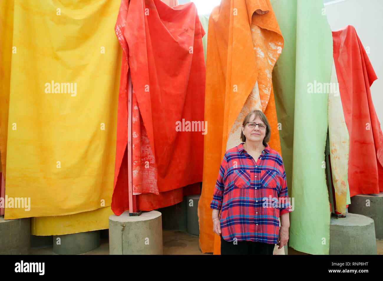 Royal Academy of Arts. London, UK 20 Feb 2019 - Phyllida Barlow poses in front of her artwork at Royal Academy of Arts. British artist Phyllida Barlow transforms the Royal Academy's Gabrielle Jungels-Winkler Galleries with an exhibition of entirely new work, entitled cul-de-sac. The exhibition has been conceived as a sequential installation running across all three of the interconnected spaces. The exhibition is open to the public from 23 February until 23 June 2019.  Credit: Dinendra Haria/Alamy Live News Stock Photo