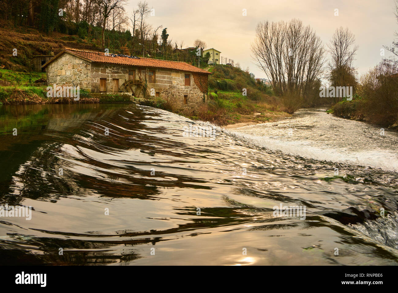 Water fall Vizela river Vila Fria Felgueiras north of Portugal - Stock Image