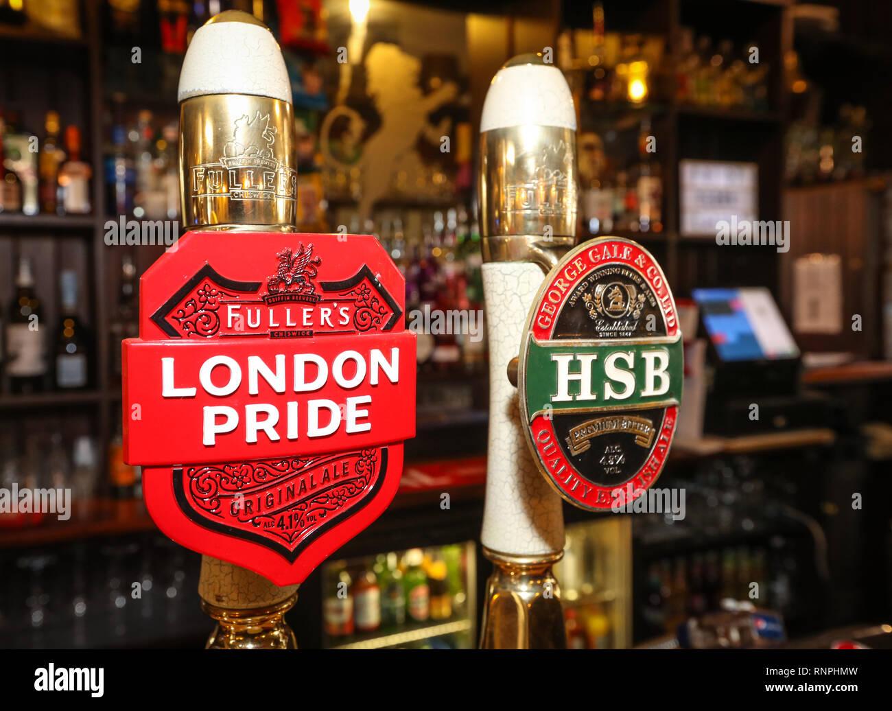 Fuller's London Pride beer pump in a UK pub - Stock Image