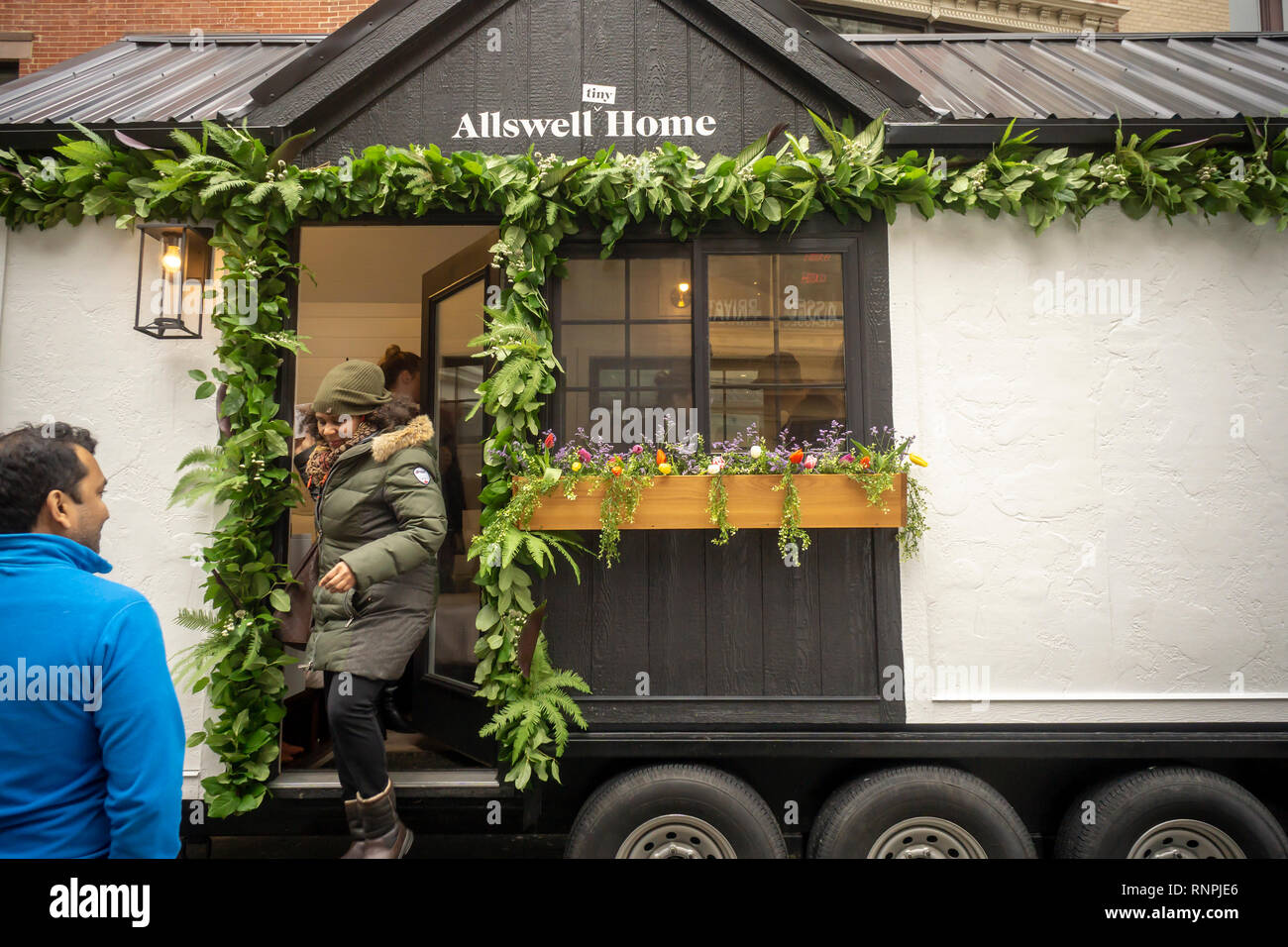 Visitors To The Online Mattress Retailer Allswell Tiny House Tour At