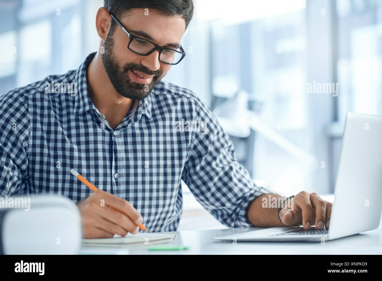 Bussiness person work in the office career using laptop - Stock Image