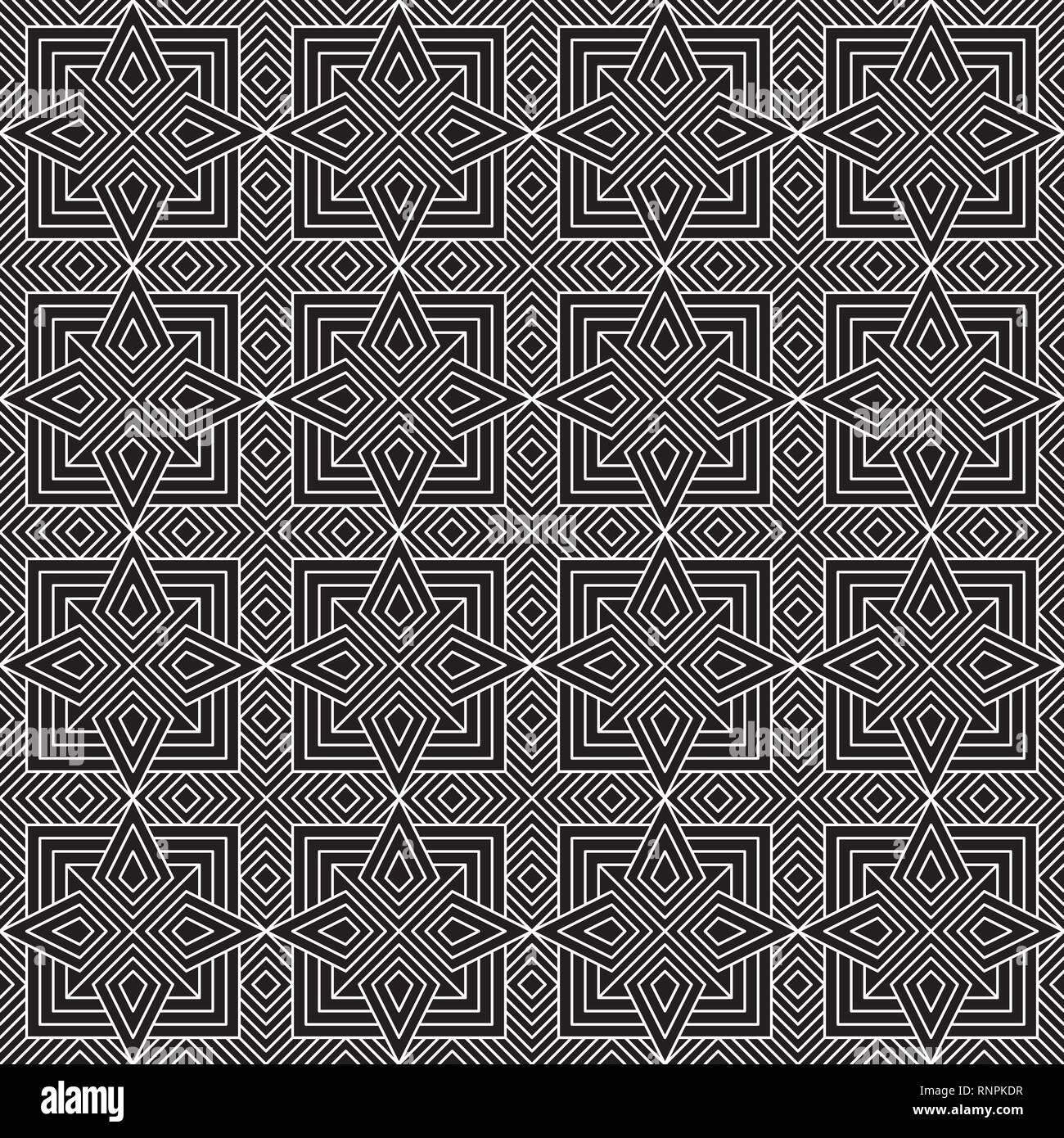 Seamless Geometric Pattern Black and White Vector Illustration