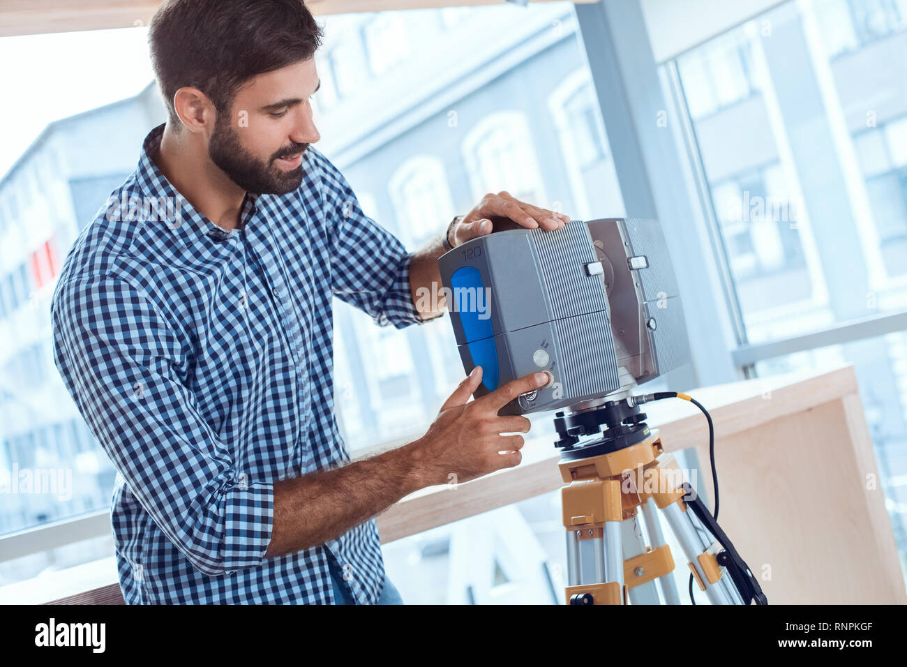 Bussiness person work in the office career laser scanner - Stock Image