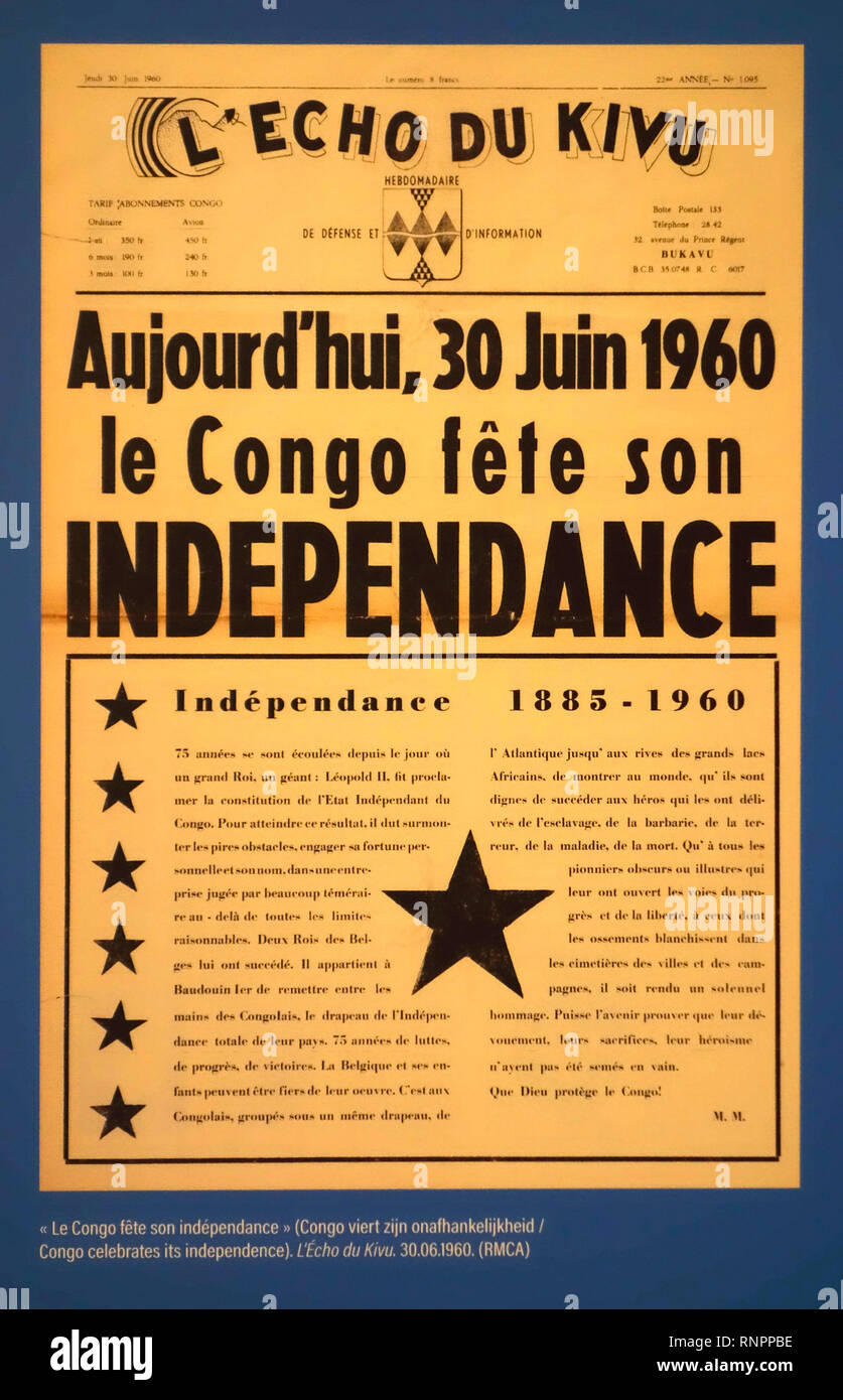 30 June 1960 front page of the Congolese weekly newspaper L'Echo du Kivu about Congo that celebrates its independence - Stock Image