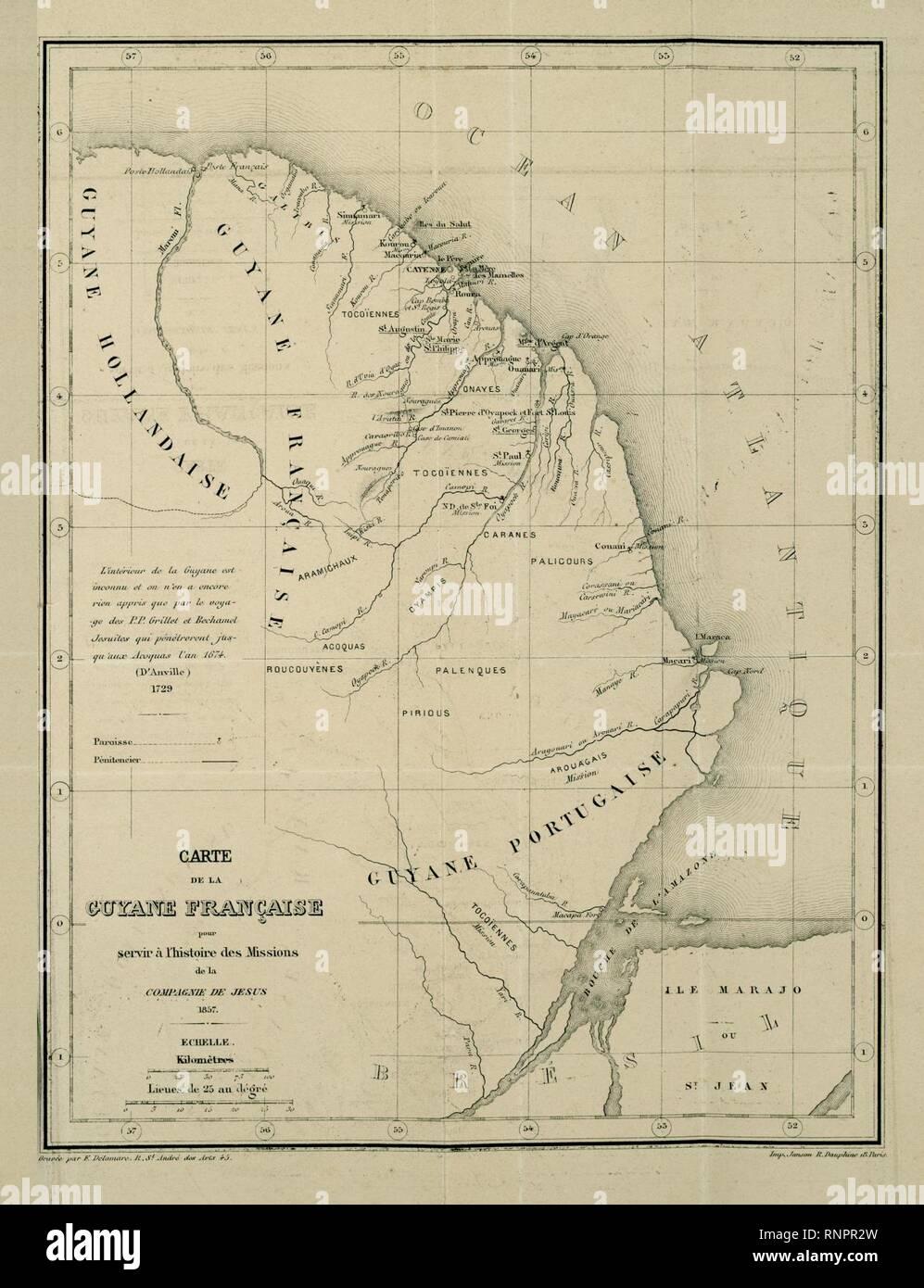 Carte de la Guyane française pour servir à l'histoire des Missions de la Compagnie de Jésus, 1857. - Stock Image