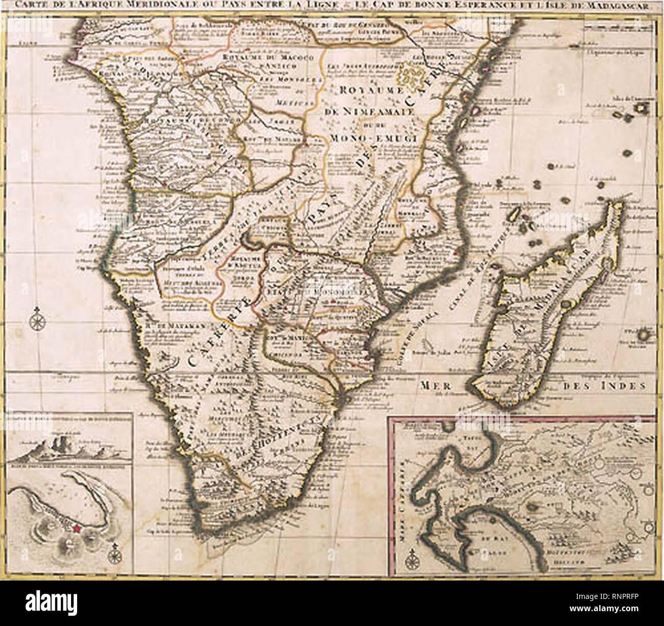 Carte de L'Afrique Meridionale 1730. - Stock Image