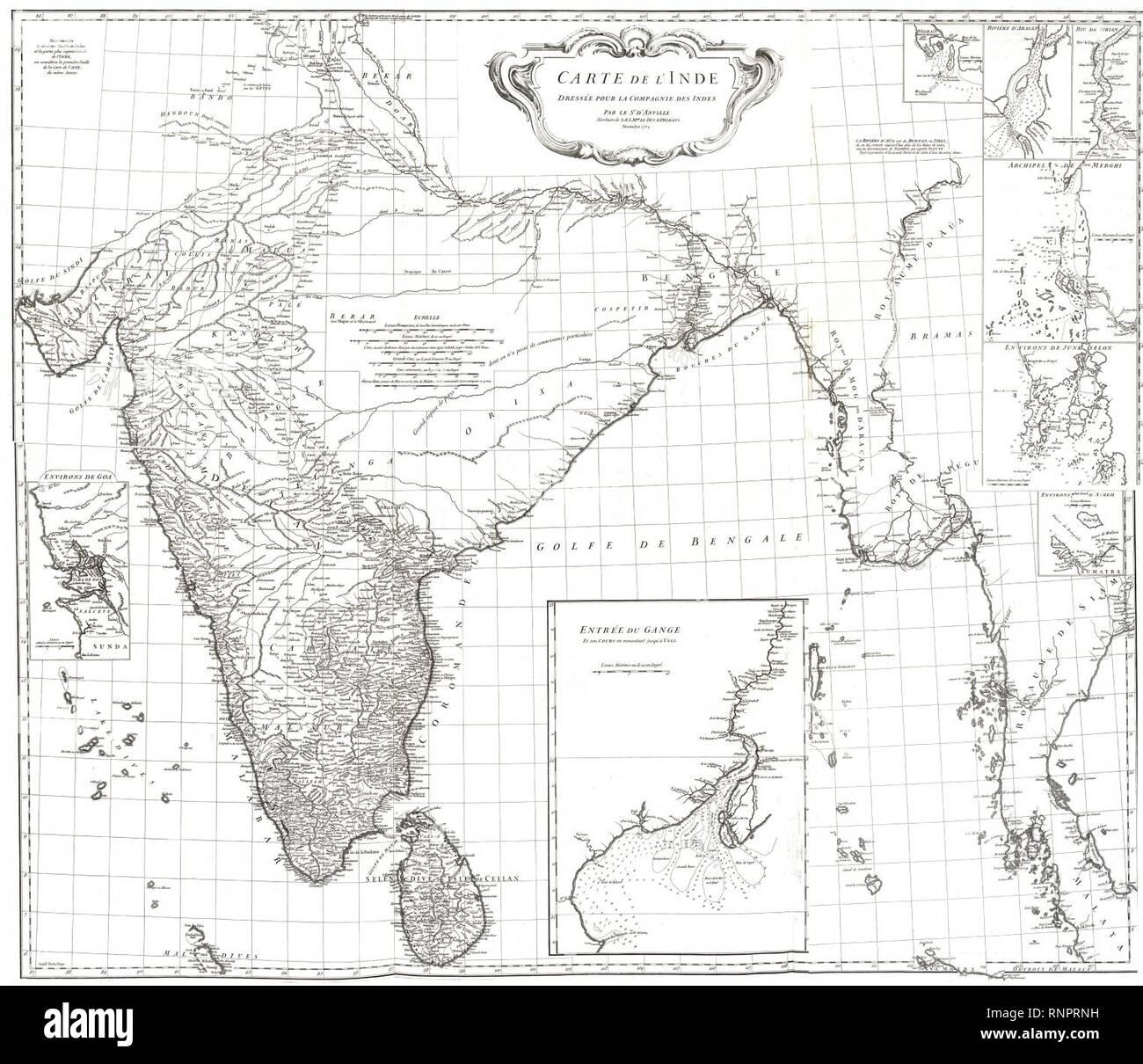 Carte Linde.Carte De L Inde 1752 Stock Photo 237144141 Alamy