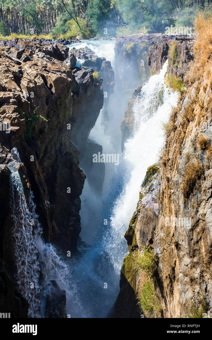 Epupa Falls on the Kunene River, border between Angola and Namibia, Namibia - Stock Image