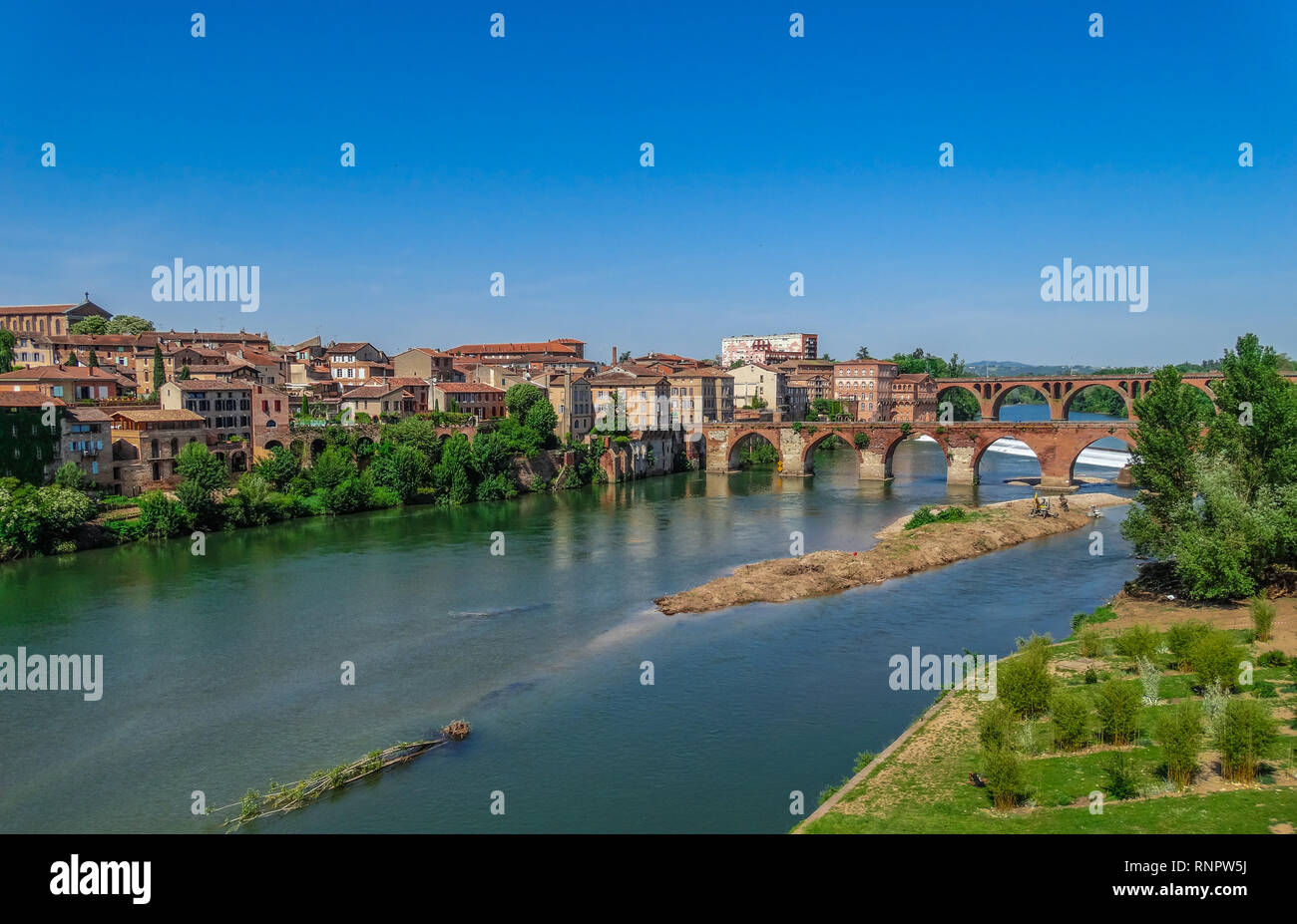 Albi medieval town, on Tarn river, with blue sky, Tarn, France Stock Photo